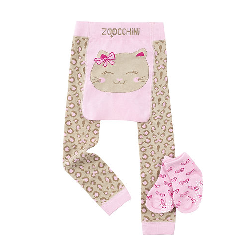 Set of beige leggings with pink & brown leopard spots print & cat's face on the seat & matching socks