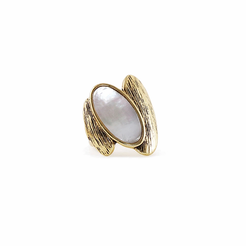 Gold antiqued metal ring - 2 oval shapes with white oval shell in center