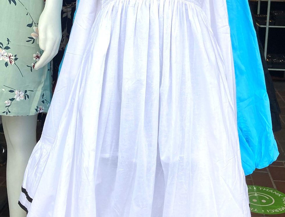 Solid white skirt/dress with long full skirt & elastic bobbin stitched waistband