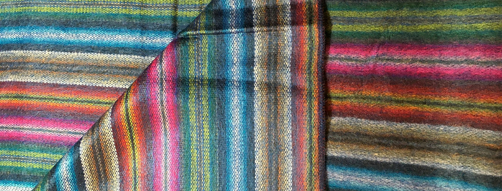 Blue, pink, brown & green striped blanket with one corner folded back to show same on both sides