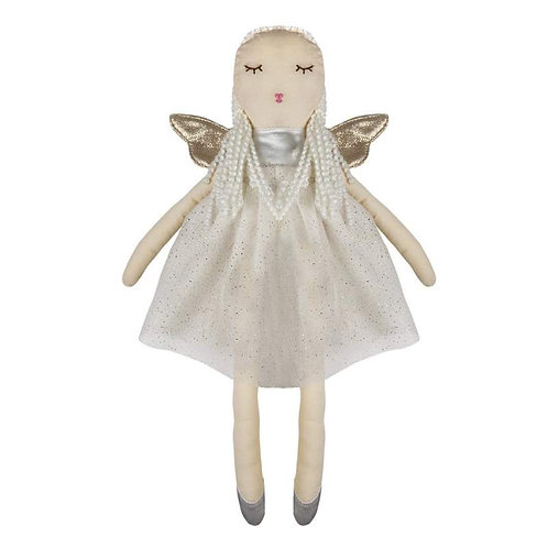 cloth doll with glittery white dress, gold wings
