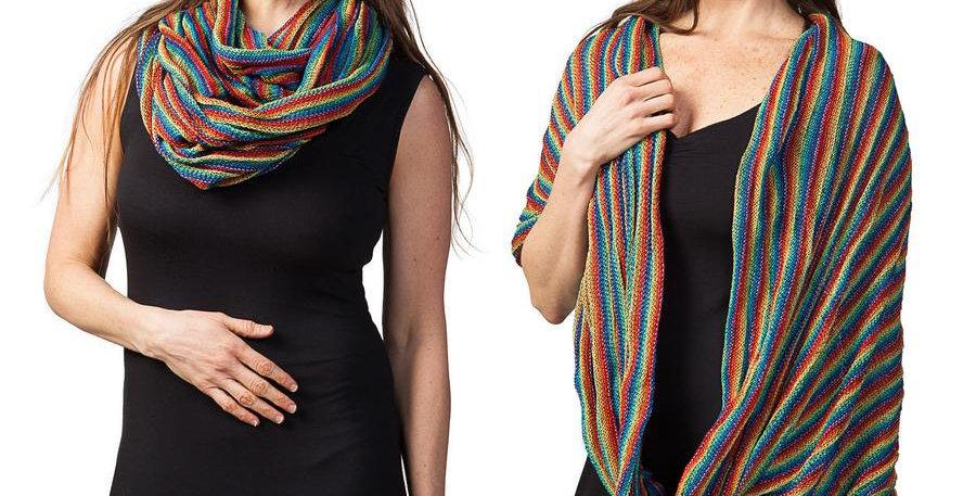 Female modeling rainbow infinity scarf worn as scarf & as shawl