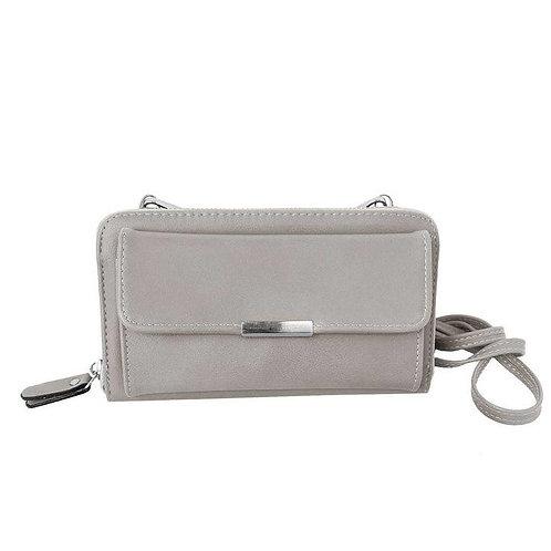 Light gray wallet-style purse with long shoulder strap & detachable wristlet strap