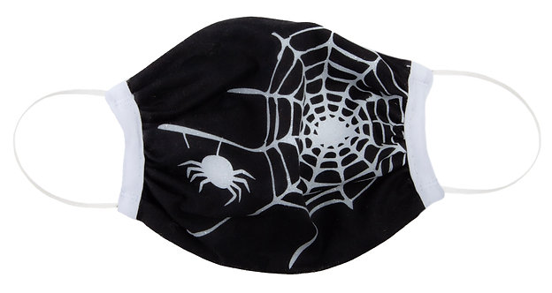 kids' black protective cotton mask with white spider and spider web