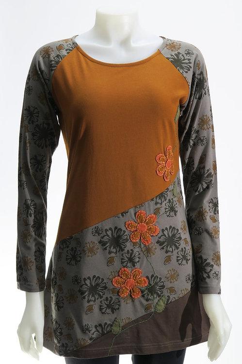 Flower Print Applique Tunic