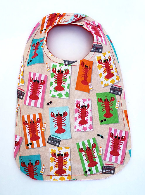 Beige oval shaped Handmade Baby Bib with colorful lobsters print