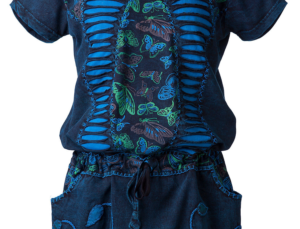 Butterfly Dress-short sleeve-round neck-drawstring waist-2 outer pockets-teal 2 ripped-torn panels & butterfly print center