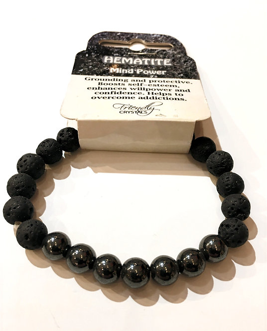 Close up of Lava Bead Stretch Bracelets with hematite beads