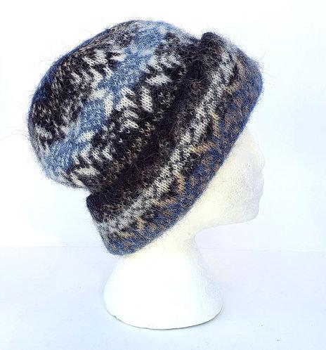 Icelandic Wool Cuffed Toque - Black Tan