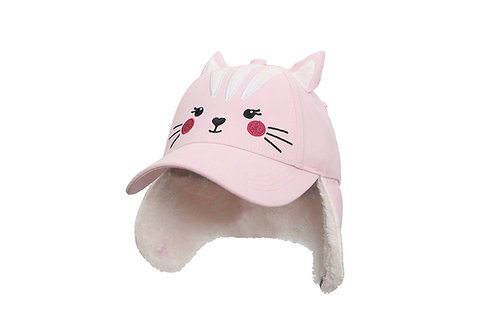Pink Cat 3D Winter Cap with sherpa-lined earflaps turned down