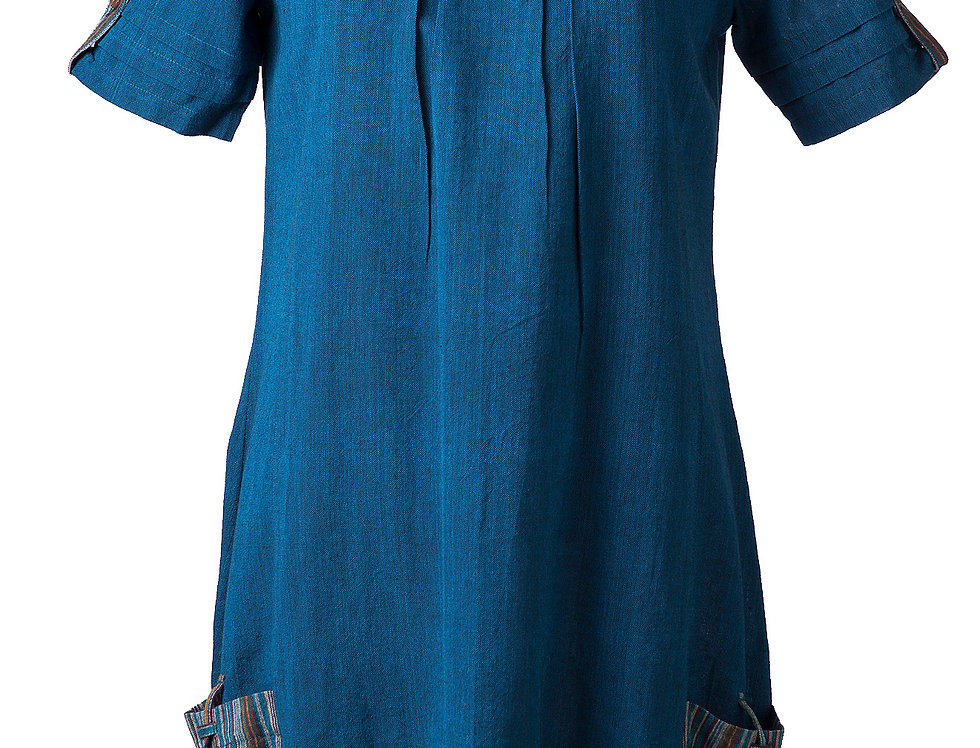 Fair Trade Olga Tunic Dress teal with short sleeves round neck A-line front gathers at neck 2 outer pockets with ties