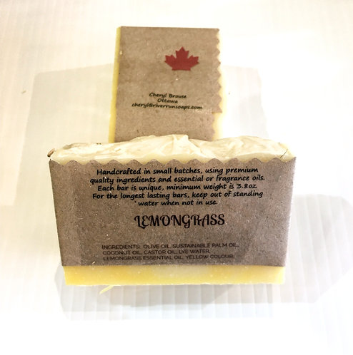 2 bars of cedarwood scented handmade soap in kraft paper wrapper printed with ingredients and Made in Canada
