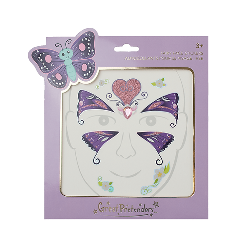 Package of pink & purple butterfly fairy face stickers