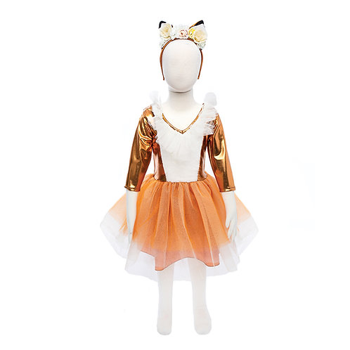 Front view of rust-colored satin & tulle woodland fox dress & headpiece on mannequin
