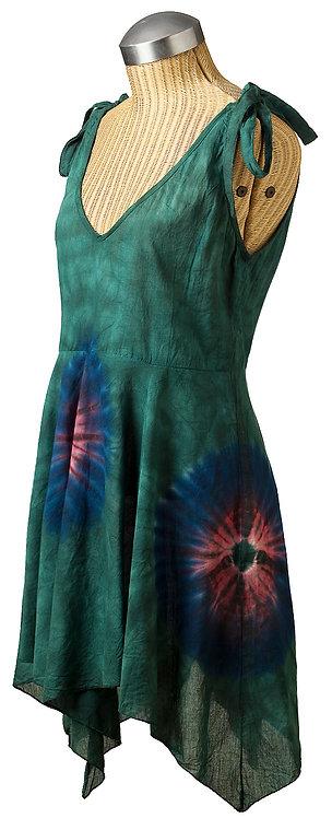 knee-length flared sheath sleeveless V-neck hanky hem ribbon ties at shoulders dark green tie-dye-blue-red bursts
