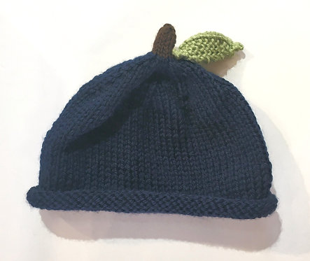 tiny knit beanie - dark blue with brown stem & green leaf at crown