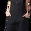 Female modelling black overalls-bib-pocket-2 side inset pockets
