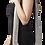 Female modeling  medium size black & white cotton shoulder bag-zips shut-zipper pocket-cotton shoulder strap-fine herringbone
