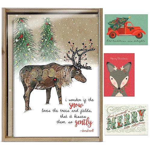 Bamboo box of 16 Christmas cards- art & soul set