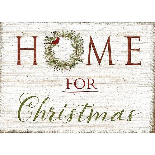Card looks like birchbark, text 'Home for Christmas'