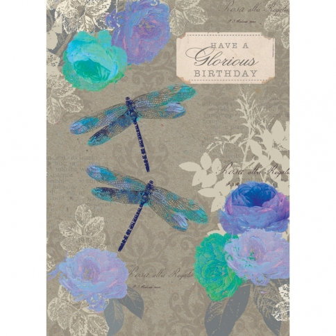 Gray card with purple & turquoise flowers & dragonflies text 'Have a glorious birthday'
