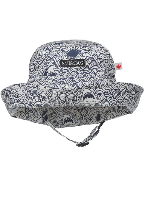 Sun Hat-small black & white print looks gray-waves & toothy shark snouts front view showing breakaway chin strap