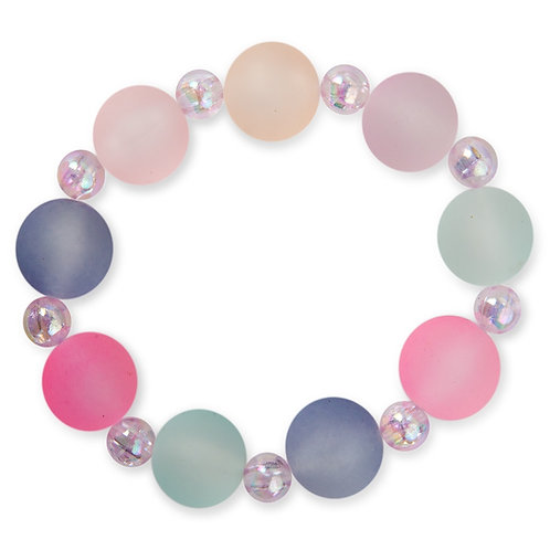 Child's elastic dress-up bracelet - big pastel colored frosted beads interspersed with small opalescent rainbow colored beads