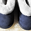 Front view of kids denim sheepskin slipper with white cuffs