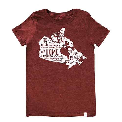 My Home Apparel Canada Languages T-Shirt, red with a white map of Canada and the word HOME written in many languages