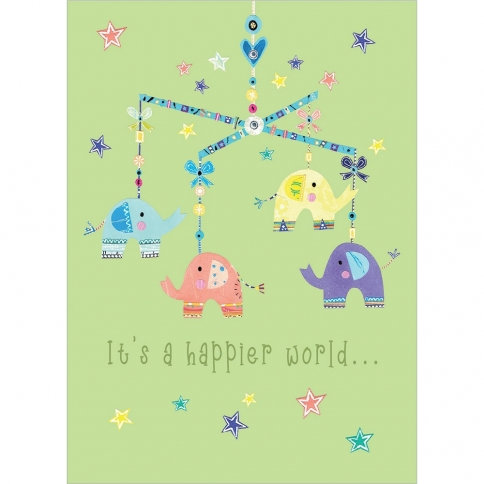 Tree-free Greetings Elephant Mobile New Baby Card front