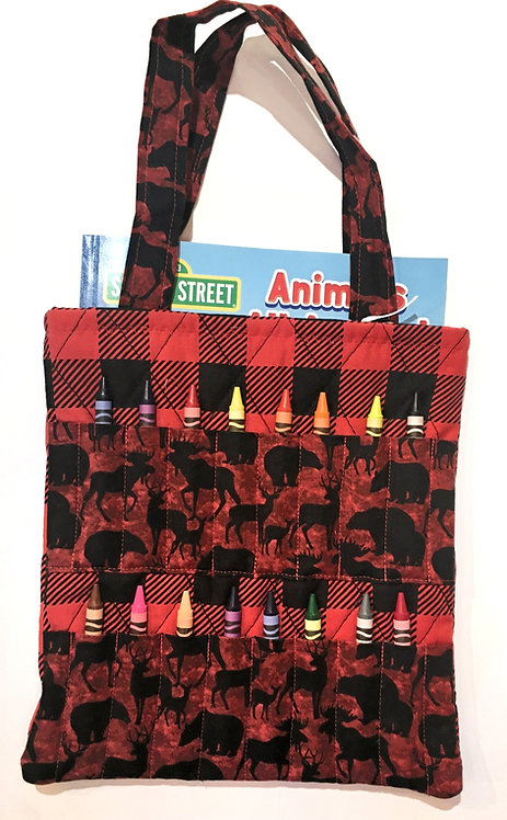 rectangular cloth tote bag with pockets for individual crayon-red&black check & black animal silhouettes on red
