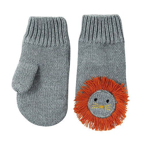 pair of gray knit baby mitts with orange lion's mane, eyes and whiskers knit into the backs