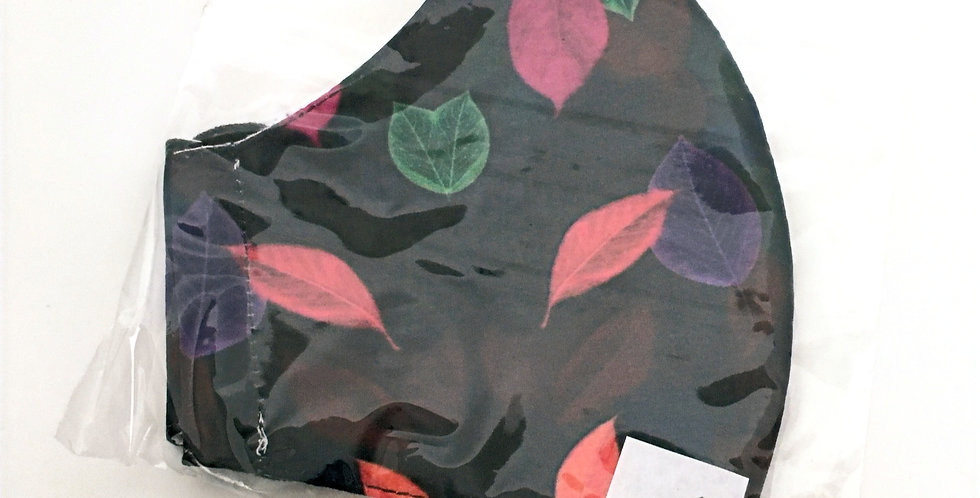 Side view of folded black mask with fuchsia, purple &greenfloral print