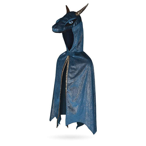Side-front view of deep blue & gold trimmed long dragon cape with stuffed dragon head hood