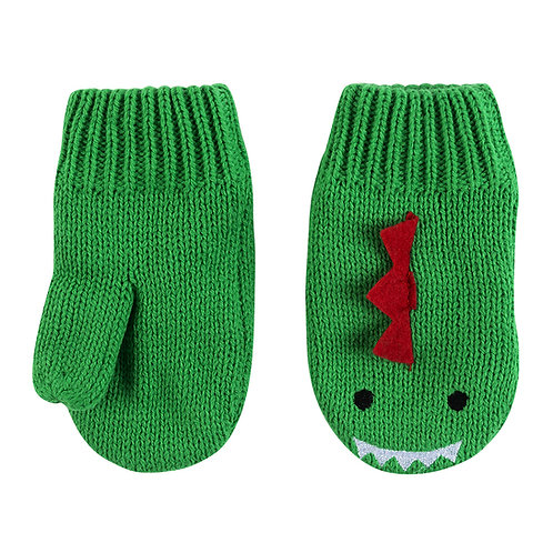 pair of green knit baby mittens with red dinosaur spine, eyes & teeth sewn onto the backs