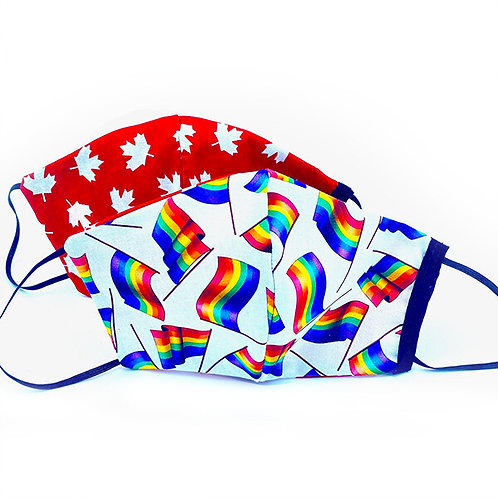 2 protective masks rainbow flags white background one side-white maple leaves red background the other