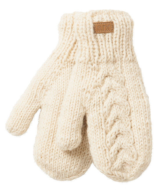White cable knit wool mitts