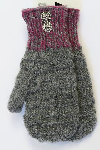 Dark gray knit wool mitts with purple ribbed cuffs & 2 metal buttons accent