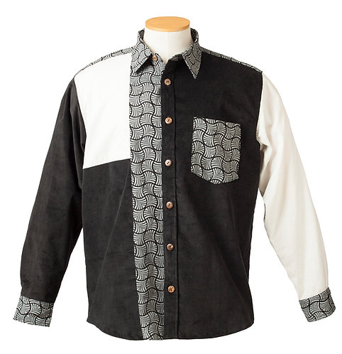 Fair Trade Cotton shirt-long sleeves-button front-collar-mostly black-large white rectangle right shoulder-left sleeve white