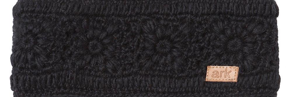 Black wool headband knit in flower pattern
