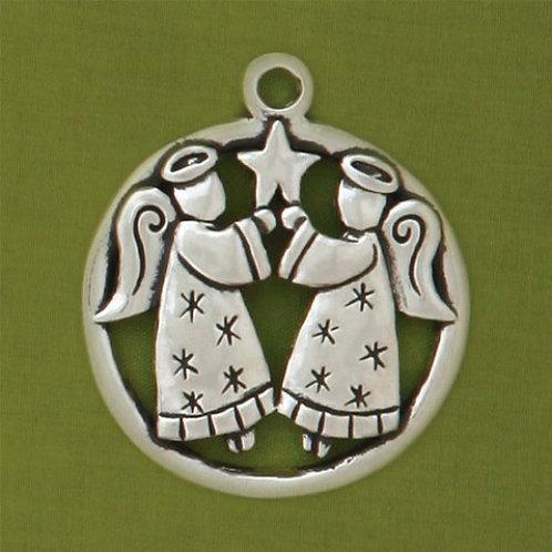 Basic Spirit Pewter 2 Angels Jolly Ornament