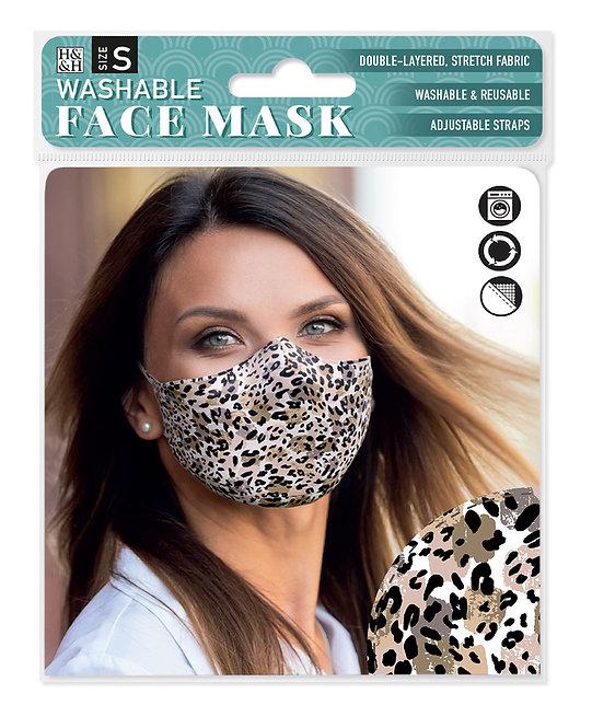 Packaging showing model wearing leopard skin print mask