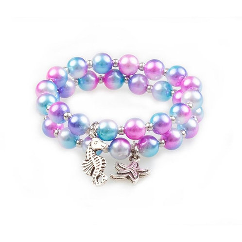 Great Pretenders Mermaid Mist Bracelet with pink, purple and blue beads and metal seahorse and starfish charms