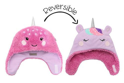 Magenta & pink reversible sherpa/fleece hats with narwhal face on sherpa side-unicorn face on fleece side