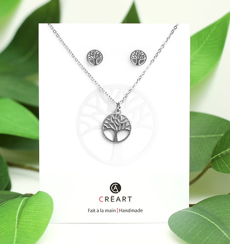 Green and white card displaying small pewter Tree of Life pendant and stud earring set