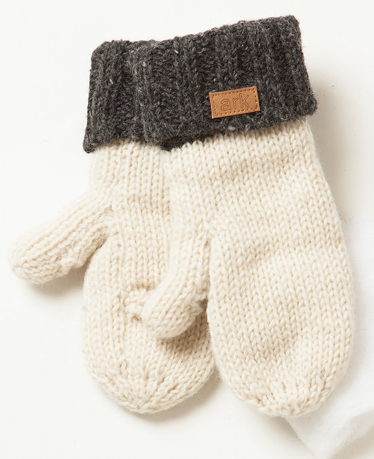 Natural white wool knit mittens with ribbed charcoal cuffs, leather tag with Ark logo