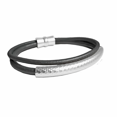 Double strand black leather bracelet with silver metal tube