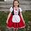 Little girl wearing  red, black & white dress-up dress