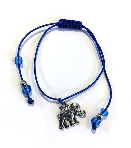 metal elephant charm bracelet - adjustable knotted navy cord with blue & silver beads at ends