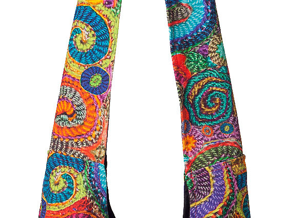 Full view of Ark Fair Trade Tripta multi-coloured shoulder bag with embroidered swirls
